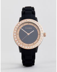 Pilgrim - Rose Gold Plated Watch With Black Silicone Strap - Lyst