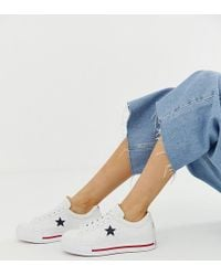 Lyst - Converse One Star Leather Sneakers In White in White 992813a6b