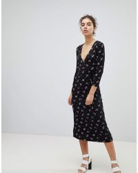 Miss Selfridge - Wrap Front Ditsy Floral Print Midi Dress - Lyst