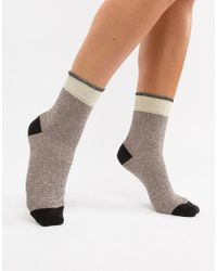 Pieces - Color Block Glitter Socks - Lyst