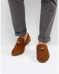 ASOS - Loafers In Tan Suede With Tassels - Lyst