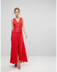 Aijek - Maxi Dress In Scallop Lace With Front Slit - Lyst