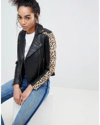 Muubaa - Laurel Leopard Print Arm Leather Biker Jacket - Lyst