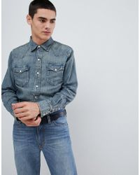 Polo Ralph Lauren - Slim Fit Denim Western Shirt In Mid Wash - Lyst