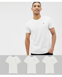 Hollister - 3 Pack Crew Neck T-shirt Seagull Logo In White - Lyst
