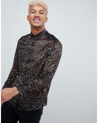 ASOS - Party Regular Fit Velvet Burnout Leopard Shirt In Black - Lyst