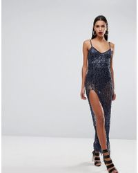 266ea0fc815e Naanaa Plunge Front Strappy Maxi Dress With Open Back in Black - Lyst