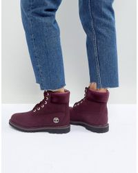 Timberland - 6 Inch Premium Burgandy Lace Up Boots - Lyst