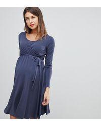 5ad917f7b25 Bluebelle Maternity - Nursing Long Sleeve Wrap Front Midi Dress In Blue -  Lyst