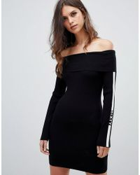 Miss Sixty - Off The Shoulder Ribbed Knit Dress With Arm Logo Detail - Lyst
