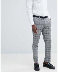 ASOS - Pantalones de traje ajustados con diseo de cuadros prncipe de Gales de - Lyst