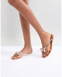 Lipsy - Jelly Flat Sandal With Bow Detail - Lyst