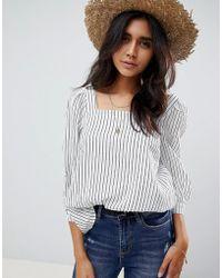 Warehouse - Blouse With Square Neck In Stripe - Lyst