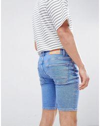 River Island - Skinny Denim Shorts In Light Wash Blue - Lyst