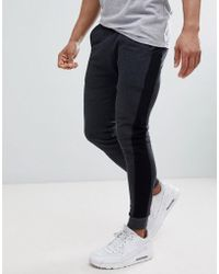 ASOS DESIGN - Super Skinny Joggers In Charcoal With Side Stripe - Lyst