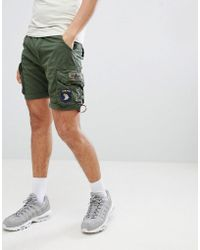 Alpha Industries - Patch Cargo Shorts In Green - Lyst