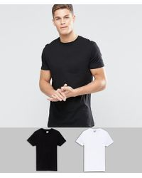 ab1cc21d ASOS - 2 Pack Longline T-shirt In Black/white With Crew Neck Multipack