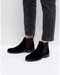Office - Jamie Black Suede Flat Chelsea Boots - Lyst