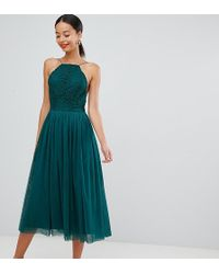 ASOS Asos Design Premium Tall Tulle Midi Prom Dress - Green