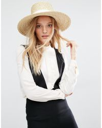 Mango - Straw Hat With White Band - Beige - Lyst