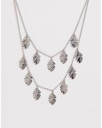 Skinnydip London Skinny Dip Silver Palm Leaf Double Necklace - Metallic