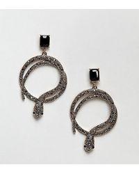 ALDO - Snake Hoop Earrings With Black Gem - Lyst