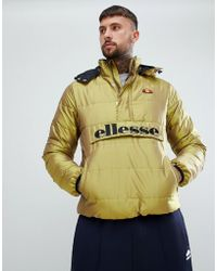 Ellesse - Trillini Padded Iridescent Overhead Jacket In Gold - Lyst