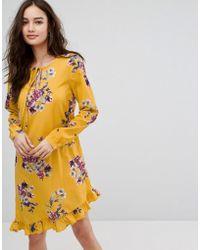 Vila - Floral Printed Mini Dress With Frill Hem - Lyst