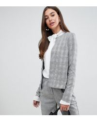 Y.A.S - Jekky Collarless Check Blazer - Lyst