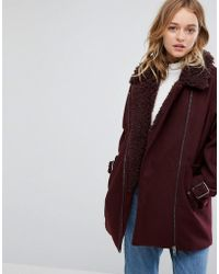Monki - Faux Fur Collar Coat - Lyst