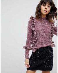 River Island - Chenille Cable Knit Frill Jumper - Lyst