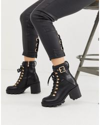 Public Desire - Swag Black Chunky Lace Up Boots - Lyst