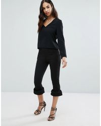 Missguided - Frill Hem Cigarette Trousers - Lyst