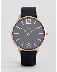Pilgrim - Rose Gold Plated Case With Black Strap - Lyst