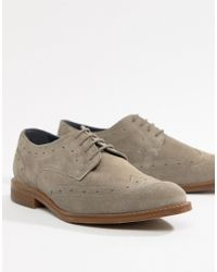 Dune - Brogues In Grey Suede - Lyst