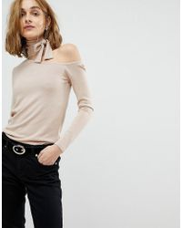 Lost Ink - Slim Jumper With Cut Out Collar And Tie Neck - Lyst
