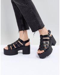 Pull&Bear - Multi Strap Block Heel In Black - Lyst
