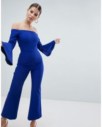 Vesper - Off Shoulder Fluted Sleeve Jumpsuit - Lyst