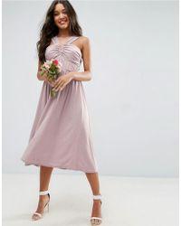 ASOS - Design Bridesmaid V Front Ruched Front Midi Dress - Lyst