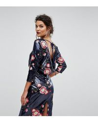 TFNC London - Sequin Midi Dress With Floral Embroidery And Cowl Back - Lyst