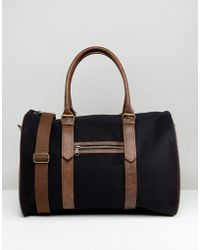 ASOS - Carryall In Black Canvas With Faux Leather Trims - Lyst