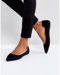 Lost Ink - Black Flat Pearl Effect Flat Shoes - Lyst