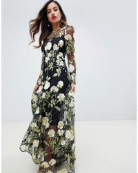 ASOS - Floral Embroidered Maxi Dress With Cutabout Skirt - Lyst
