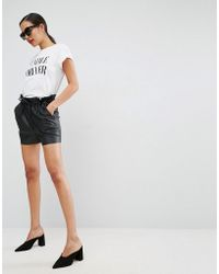 ASOS - Leather Look Shorts With Paper Bag Waist - Lyst