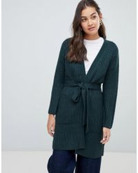 ONLY - Chunky Belted Knit Cardigan - Lyst