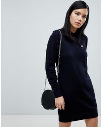 Fred Perry - Navy Knit Jumper Dress - Lyst