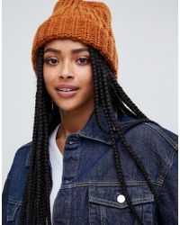 Monki - Ribbed Beanie Hat In Rust - Lyst