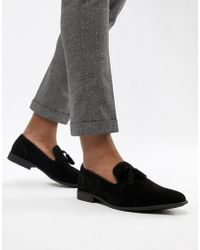 ASOS - Design Vegan Friendly Tassel Loafers In Black Faux Suede - Lyst