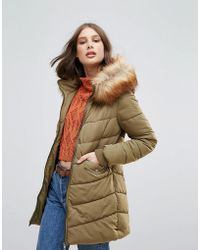 ONLY - Sanna Long Quilted Coat With Faux Fur Trim - Lyst