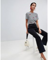 Warehouse - Cropped Kick Flare Jean In Black - Lyst